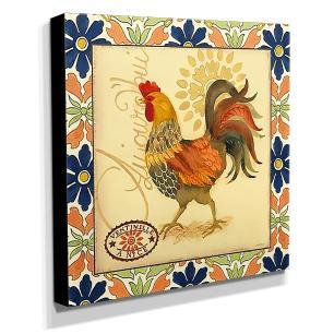 Quadro Cozinha Vintage Galinha Canvas 30x30cm-COZ176