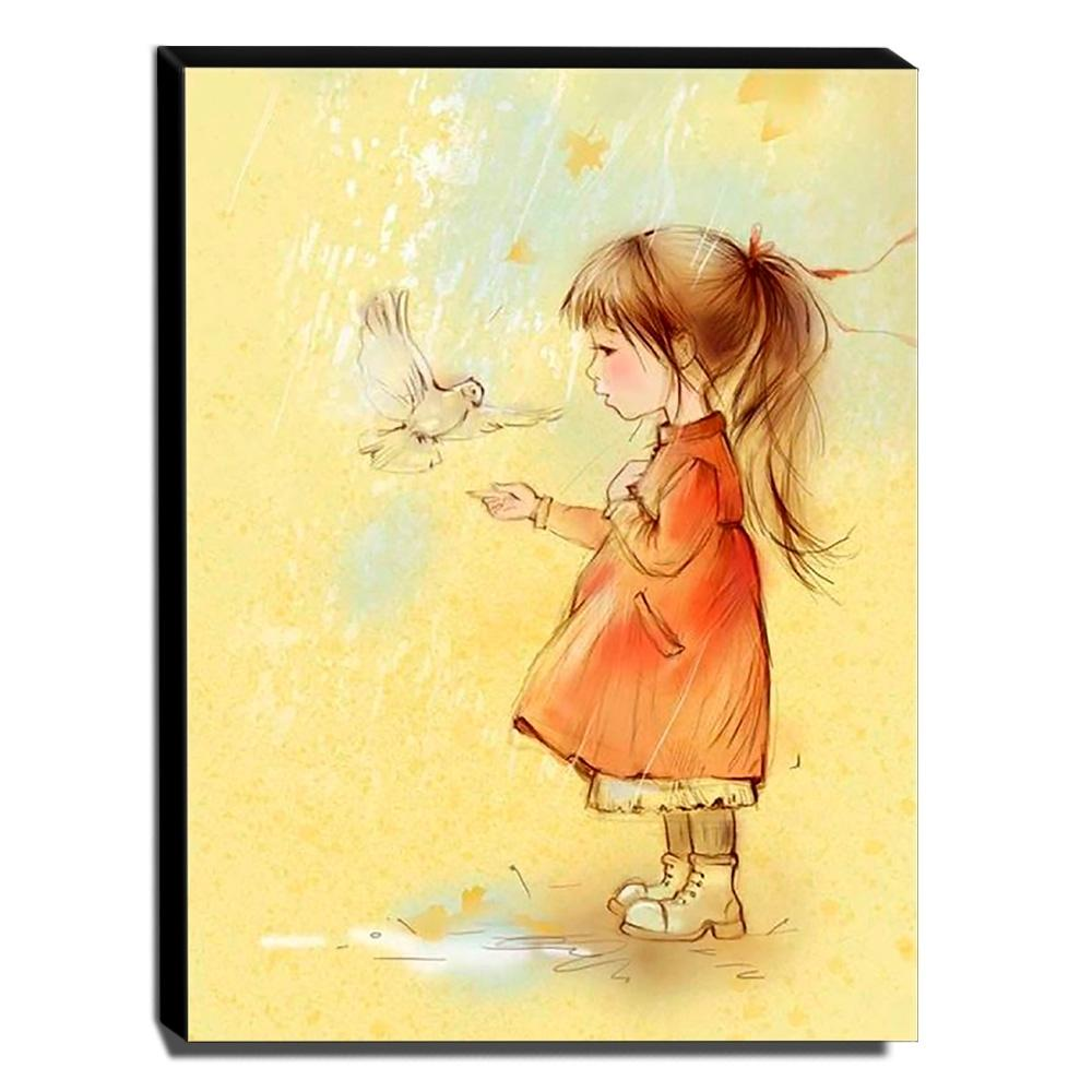 Quadro Infantil Vintage Menina e Pomba Canvas 40x30cm-INF452
