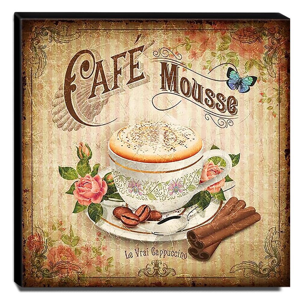 Quadro Cozinha Vintage Café Mousse Canvas 30x30cm-COZ89