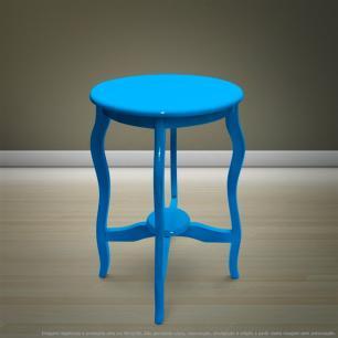 Mesa Lateral De Canto Inglesa Laqueada Azul Turquesa