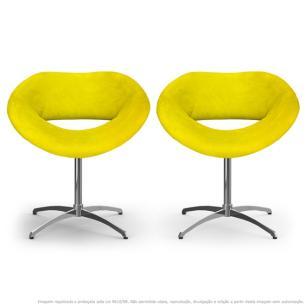 Kit 2 Cadeiras Beijo Amarela Poltronas Decorativas com Base Giratória