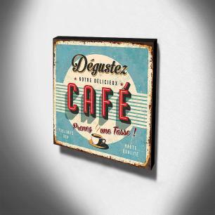 Quadro Cozinha Vintage Café Canvas 30x30cm-COZ93