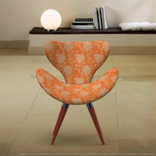 Poltrona Egg Floral Marrom e Laranja Cadeira Decorativa com Base Fixa