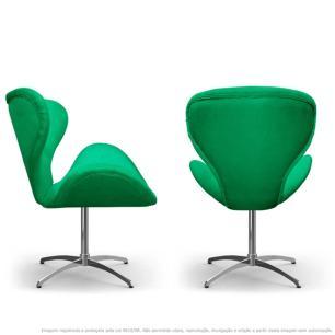 Kit 2 Cadeiras Decorativas Poltronas Egg Verde com Base Giratória