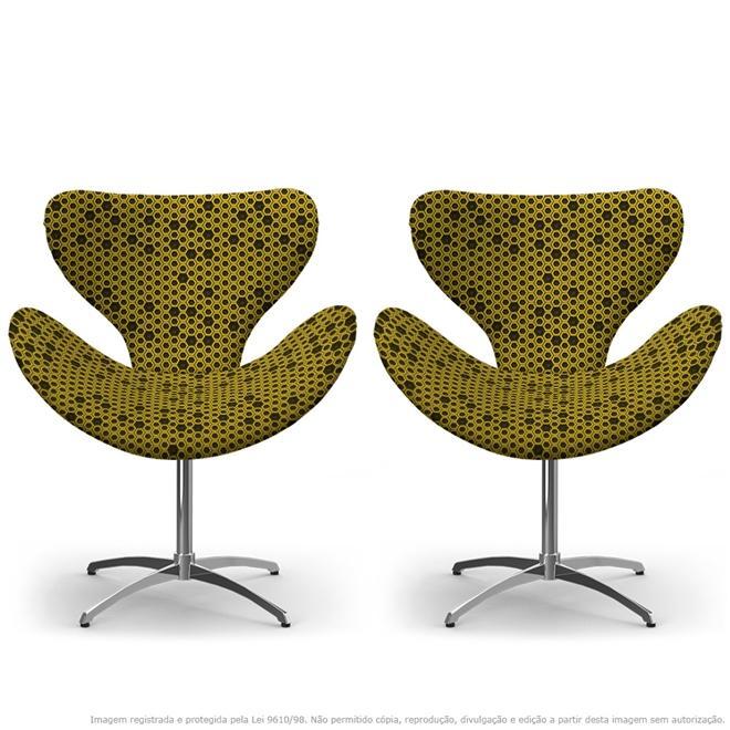 Kit 02 Cadeiras Egg Colmeia Preto E Amarelo Poltrona Decorativa com Base Giratória