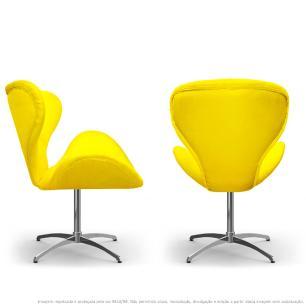 Kit 2 Cadeiras Decorativas Poltronas Egg Amarela com Base Giratória