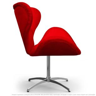 Cadeira Decorativa Poltrona Egg Vermelha com Base Giratória