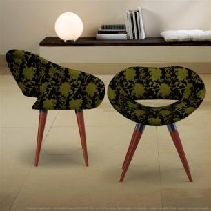 Kit 2 Cadeiras Beijo Floral Amarelo e Preto Poltrona Decorativa com Base Fixa