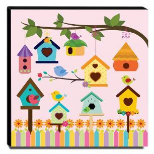 Quadro Infantil Pássaros Canvas 30x30cm-INF288