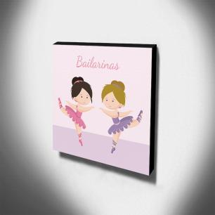 Quadro Infantil Bailarinas Canvas 30x30cm-INF311
