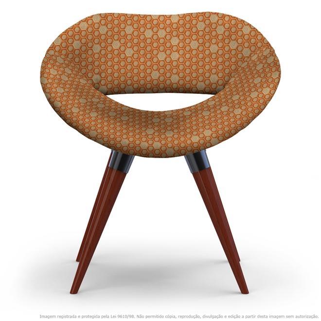 Cadeira Beijo Colmeia Marrom e Laranja Poltrona Decorativa com Base Fixa
