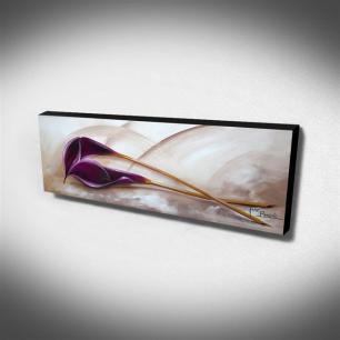 Quadro de Pintura Copo de leite Roxo 40x105cm-1628