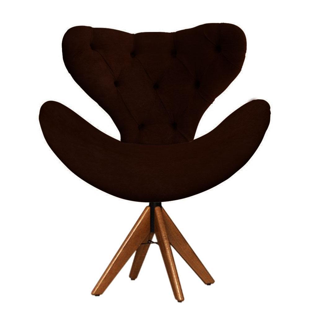 Cadeira Decorativa Egg Com Capitonê Marrom Giratória Madeira