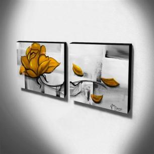 Dupla de Quadros Decorativos Canvas Rosa Amarela 60x60cm Cada-QF3D-60
