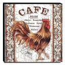 Quadro Cozinha Vintage Galo Café Canvas 30x30cm-COZ166