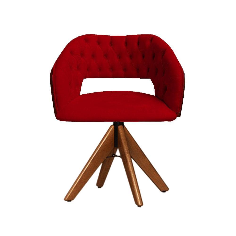 Cadeira Decorativa Bia Com Capitonê Vermelha Giratória Madeira
