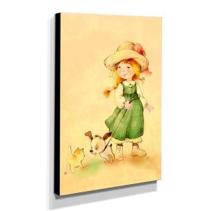 Quadro Infantil Vintage Menina e Animais Canvas 40x30cm-INF462
