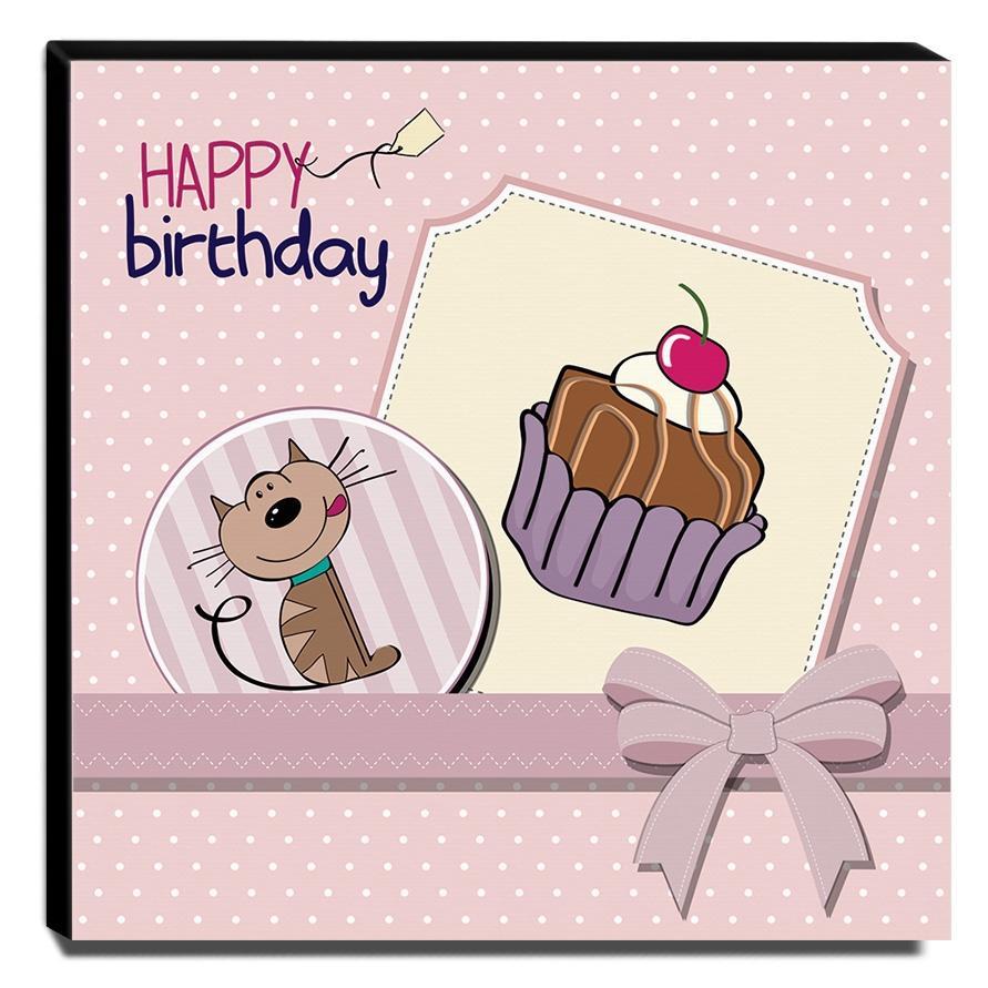 Quadro Infantil Happy Birthday Canvas 30x30cm-INF338