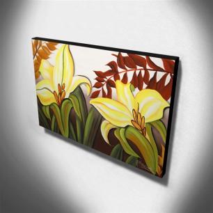 Quadro Decorativo Canvas Lírio Amarelo 60x105cm