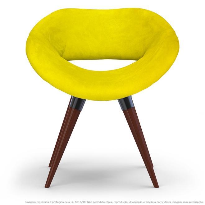 Poltrona Beijo Amarela Cadeira Decorativa com Base Fixa de Madeira