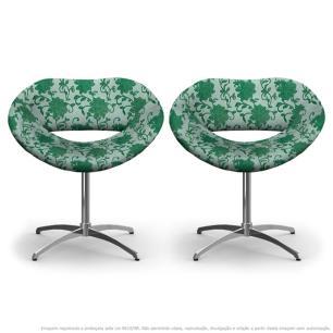 Kit 2 Cadeiras Beijo Verde Floral Poltrona Decorativa com Base Giratória