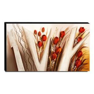 Quadro de Pintura Tulipas Vermelhas 70x120cm-1494