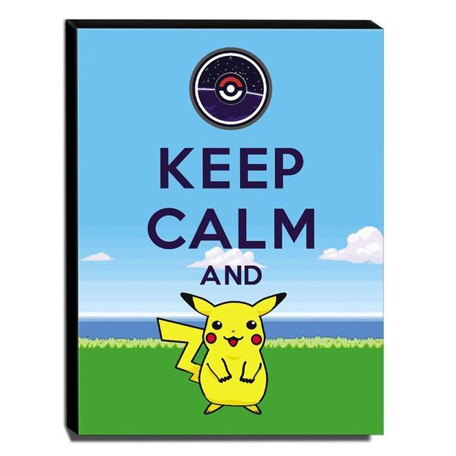 Quadro Keep Calm And Pokemon Go Pikachu Canvas 40x30cm-KCA102
