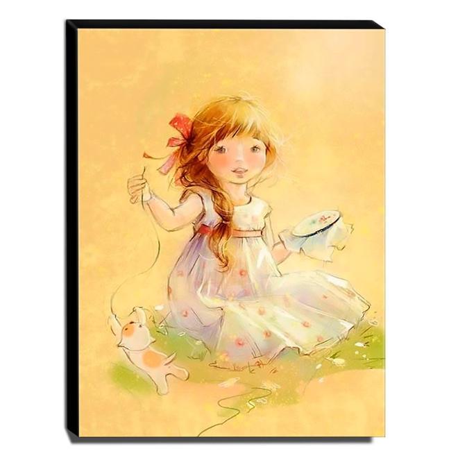 Quadro Infantil Vintage Menina e Gatinho Canvas 40x30cm-INF459