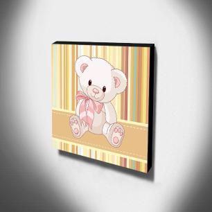 Quadro Infantil Ursinho Canvas 30x30cm-INF138