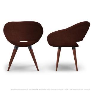Kit 2 Poltronas Beijo Marrom Cadeiras Decorativas com Base Fixa de Madeira