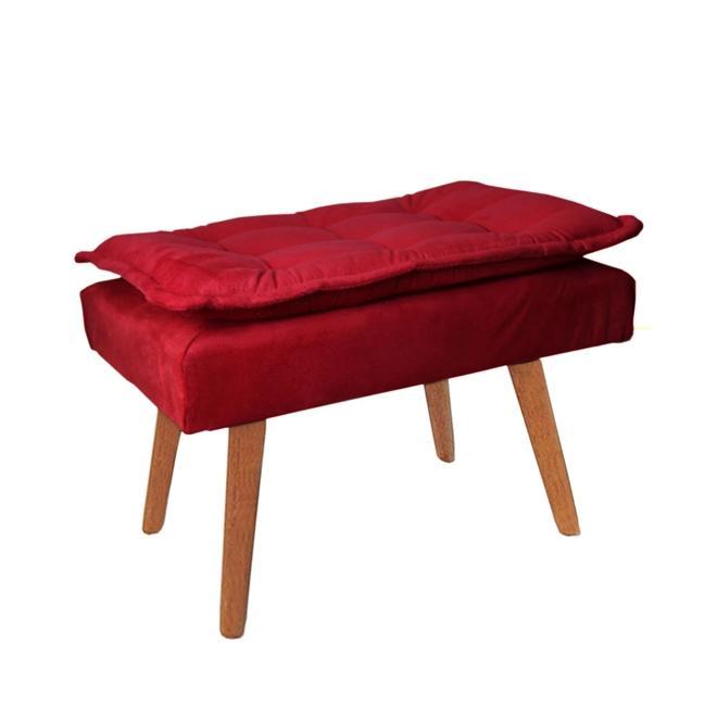 Puff Opala Decorativo Vermelho Pés Palitos De Madeira