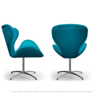 Kit 2 Cadeiras Decorativas Poltronas Egg com Capitonê Azul Turquesa com Base Giratória
