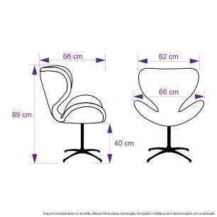 Kit 2 Cadeiras Decorativas Poltronas Egg Marinho Base Giratória
