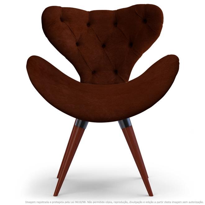 Poltrona com Capitonê Decorativa Cadeira Egg Marrom com Base Fixa de Madeira