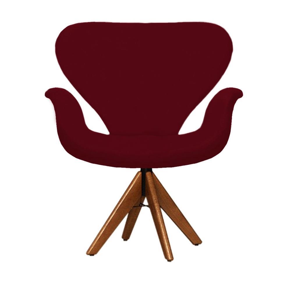 Cadeira Decorativa Tulipa Vermelho Bordô Giratória Madeira