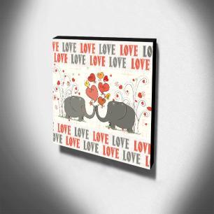Quadro Infantil Love Elefantes Canvas 30x30cm-INF89