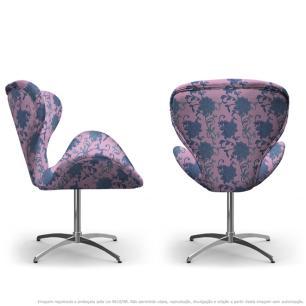 Kit 2 Cadeiras Egg Floral Lilás e Rosa Poltrona Decorativa com Base Giratória