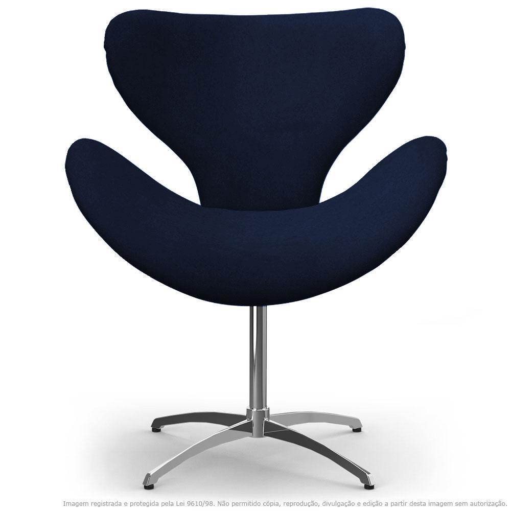 Cadeira Decorativa Poltrona Egg Marinho Base Giratória