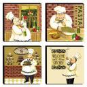 Kit 4 Quadros Cozinha Vintage Cozinheiro Canvas 30x30cm-COZ22