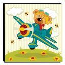Quadro Infantil Ursinho no Avião Canvas 30x30cm-INF107