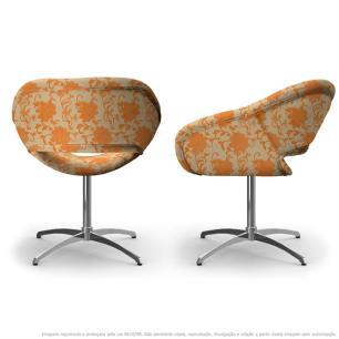 Kit 2 Cadeiras Beijo Floral Laranja e Marrom Poltrona Decorativa com Base Giratória