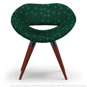 Cadeira Beijo Colmeia Verde e Preto Poltrona Decorativa com Base Fixa