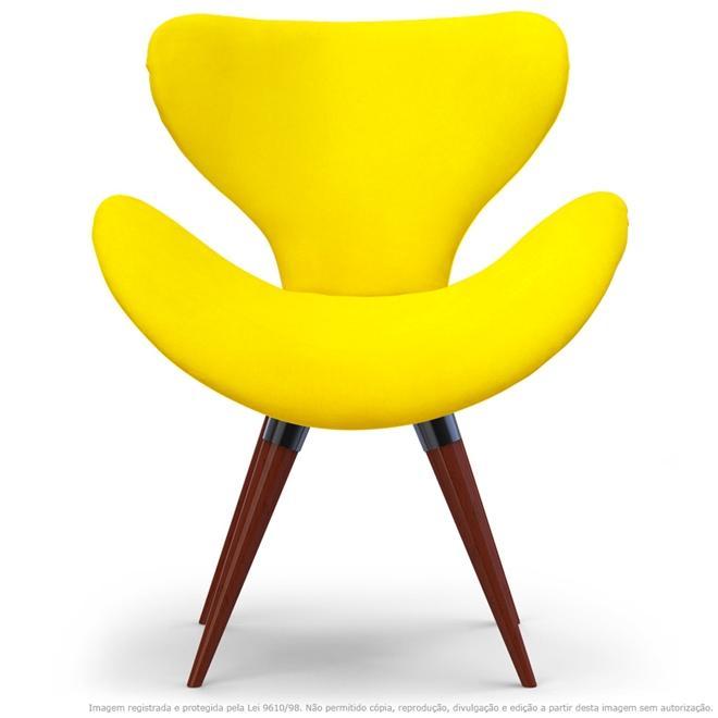 Poltrona Decorativa Cadeira Egg Amarela com Base Fixa de Madeira