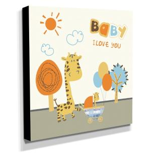 Quadro Infantil Girafa Baby I Love You Canvas 30x30cm-INF144