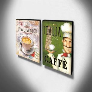 Kit 2 Quadros Cozinha Vintage Café Itália Canvas 40x30cm-COZ221