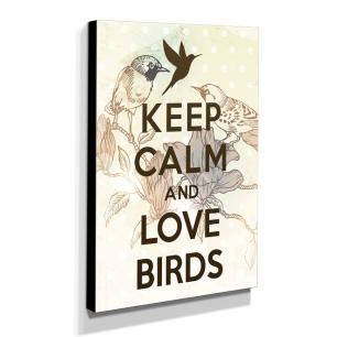 Quadro Keep Calm And Love Birds Canvas 40x30cm-KCA87