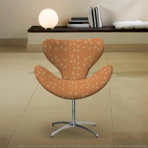 Cadeira Egg Colmeia Marrom e Laranja Poltrona Decorativa com Base Giratória