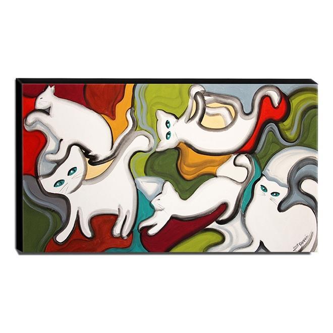 Quadro de Pintura Gatos 70x120cm-1406