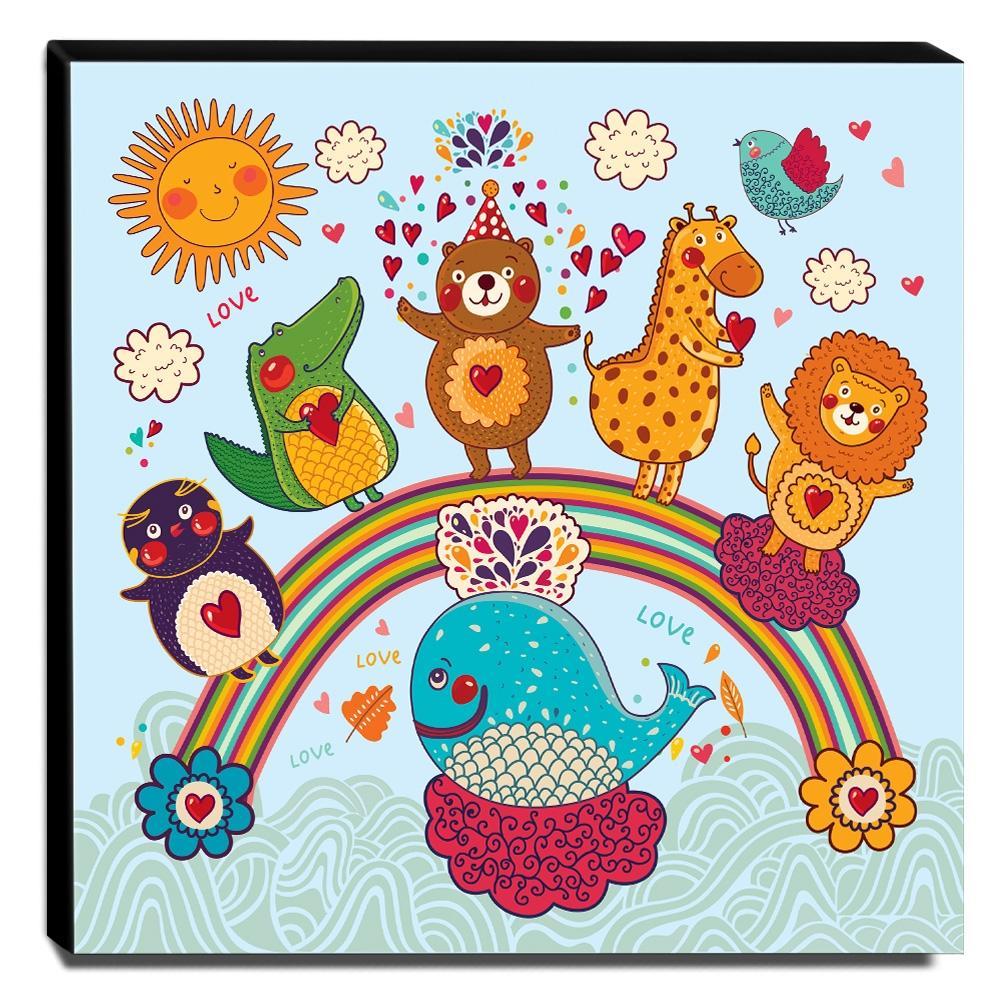 Quadro Infantil Animais no Arco-íres Canvas 30x30cm-INF104