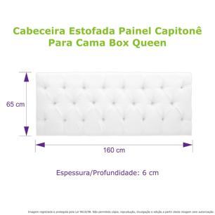 Cabeceira Estofada Painel Capitonê Cinza Para Cama Box Queen 160cm